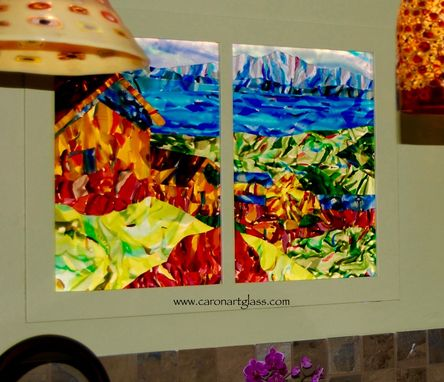 Custom Made Fused Glass Kitchen Wall Art - Lake Titicaca Diptych