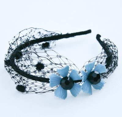Custom Made Black Net Headband With Vintage Blue Flowers