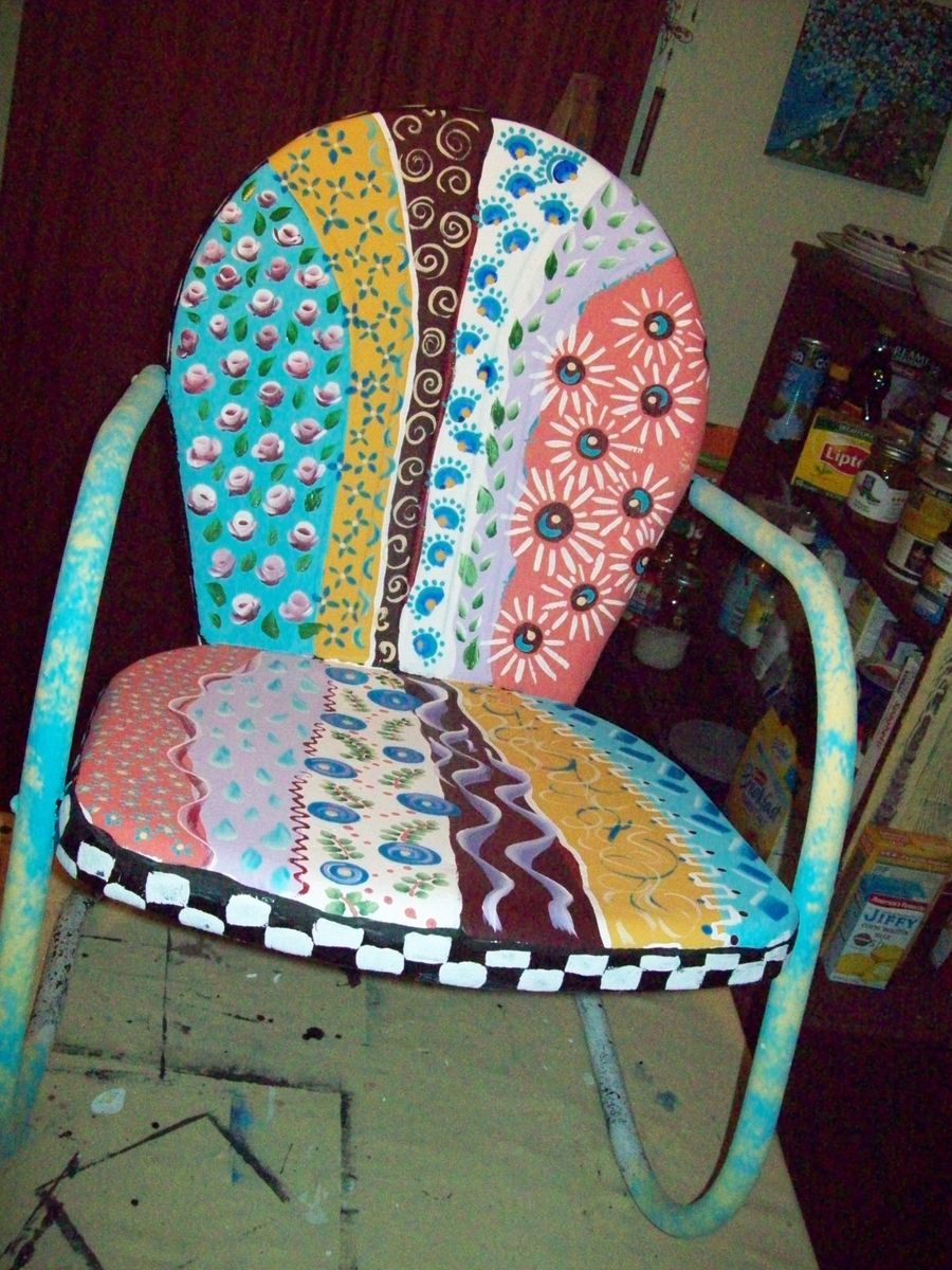 Hand Crafted Metal Handpainted Multi Colored Yard Patio Chair By I Paint Cool Stuff Custommade Com