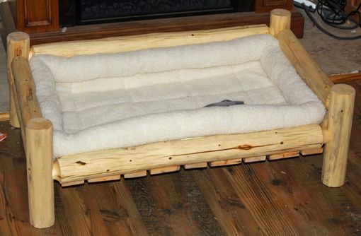 Custom Made Rustic Log Pet Bed And Feeder