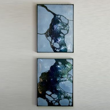 Custom Made Wall Diptych Arctic Ii In Glass, Framed In Steel