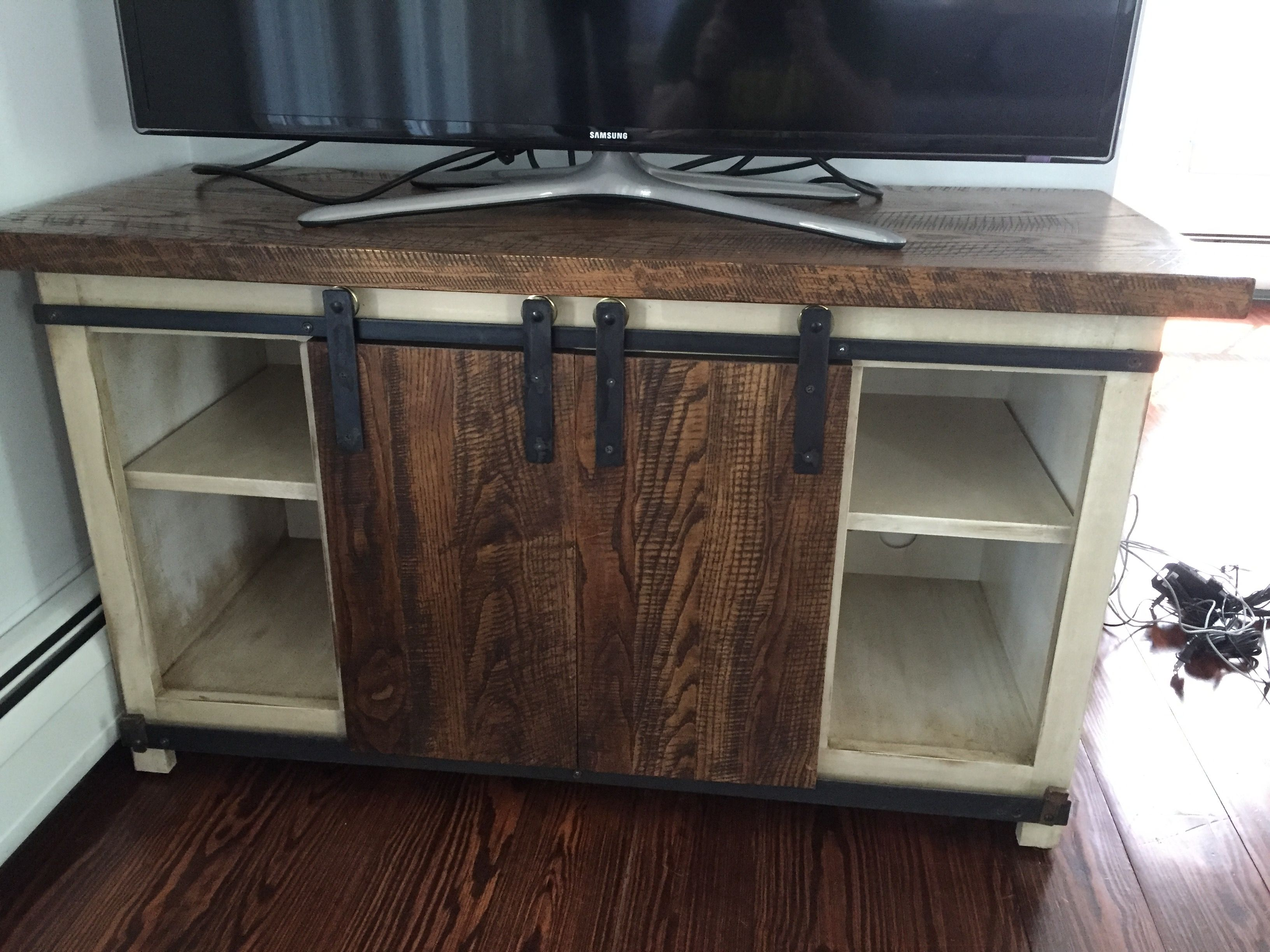 Custom Made Barn Door Media Cabinet