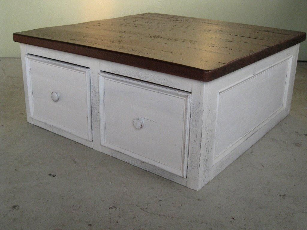 Custom Made White Coffee Table Floor Level With Large Drawers