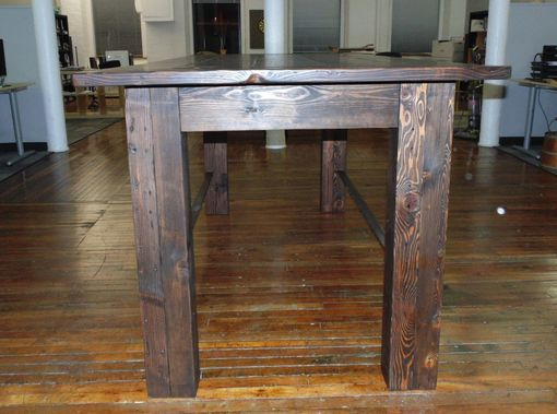 Custom Made Reclaimed Wood Farmhouse / Industrial Pub Height Table