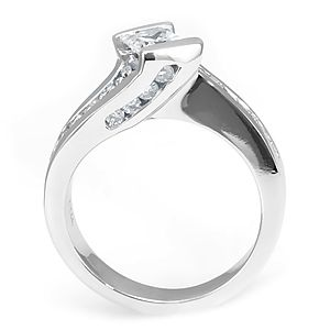 Custom Made Unique Diamond Engagement Ring In 14k White Gold,  Proposal Ring, Diamond Ladies Ring