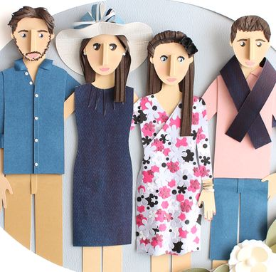 Custom Made Custom Family Portrait Made From Paper