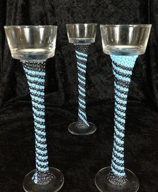 Custom Made Beaded Candle Holders - Blue Hue Wrap