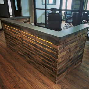 Reclaimed Wood Slat And Steel Desk With Led Lighting