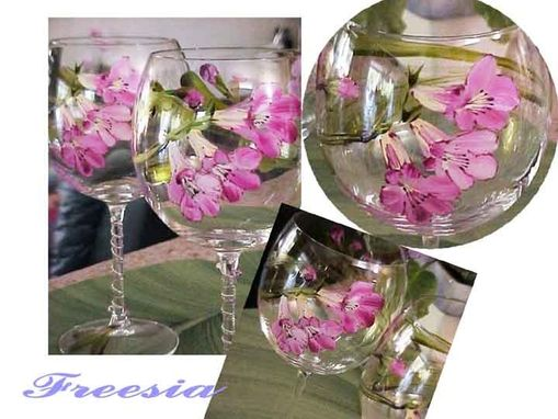 Custom Made Hand-Painted Freesia Wine Goblets