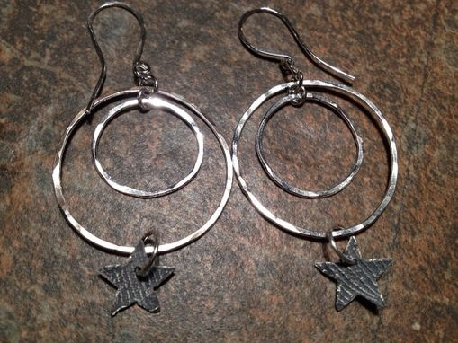 Custom Made Silver Moon And Star Earrings