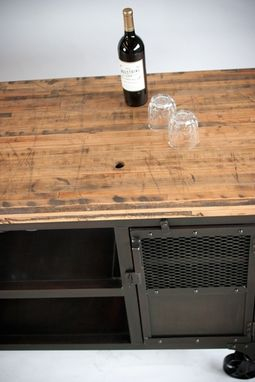 Custom Made Industrial Home Bar Reclaimed Wood, Coffee Cart, Mini Bar, Wine Cabinet, Kitchen Island, Bar Cart