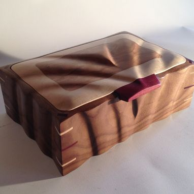 Custom Made Sculpted Keepsake Box In Walnut, Maple & Cherry