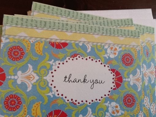 Custom Made Blue And Green Collage Thank You Notecard Set