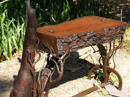 Custom Made Sinker Cypress And Hand Forged Iron Bench