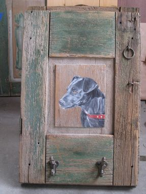 Custom Made Black Lab On Old Shutter