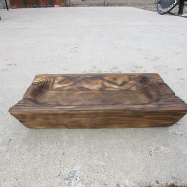 Custom Made Primitive Wood Carving Large Tray