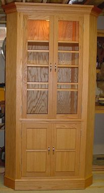 Custom Made Oak Corner Cabinet