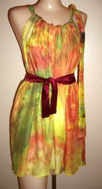 Custom Made Hand Dyed Silk Charmeuse Ladies Dress