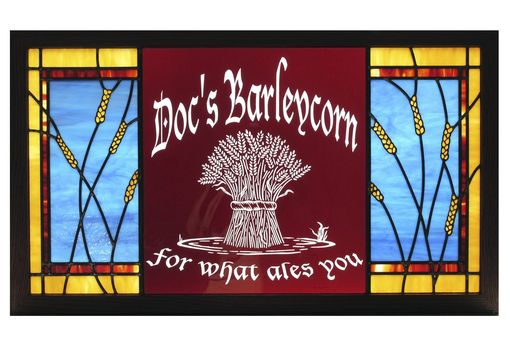 Custom Made Stained Glass Sign For Home Bar