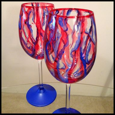 Custom Made Red And Blue, Abstract Design. White Wine Glasses.