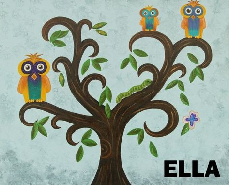 Custom Made Owls In A Tree Nursery Wall Art / Kids Room Art (Painting Not A Print).