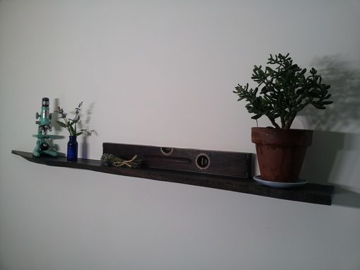 Custom Made Live Edge Floating Shelf In Ebonized Oak 54""