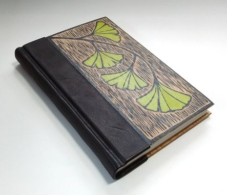 Custom Made Handmade Book, Bound In Leather And Wood, With Original Block Print Art On Cover