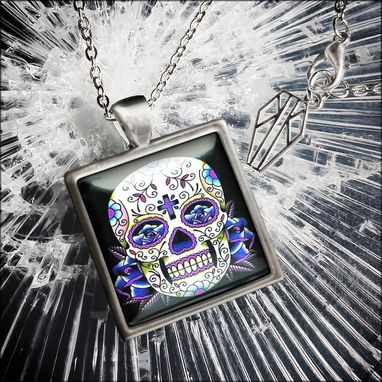 Custom Made Platinum Edition Blue Dia De Los Muertos Necklace 56-Sspn