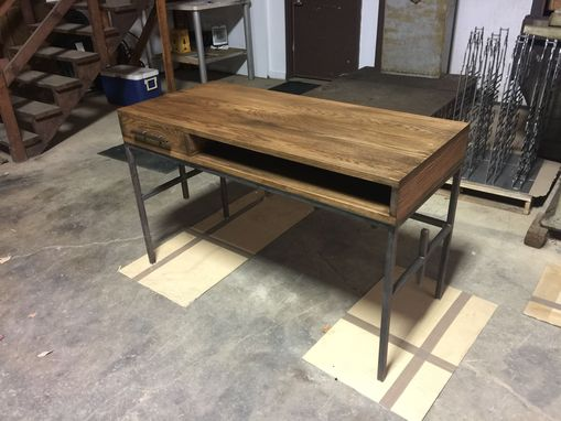 Custom Made Industrial Oak Top Desk