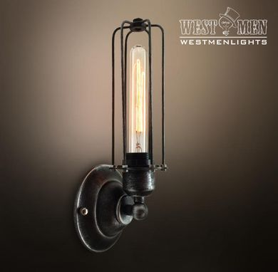 Custom Made Westmenlights Black Wrought Iron Wall Sconce Vintage Industrial Lighting