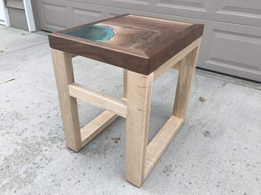 Custom Made Walnut Lake Glass End Table