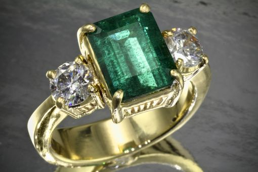Custom Made Three And A Half Carat Emerald Ring
