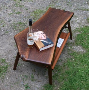 Custom Made Walnut Coffee Table - Live Edge - With Hand Stitched Leather Magazine / Book Shelf