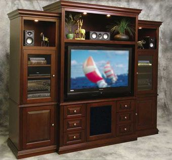 Custom Made Cinnamon Birch Plasma Tv Wall Unit