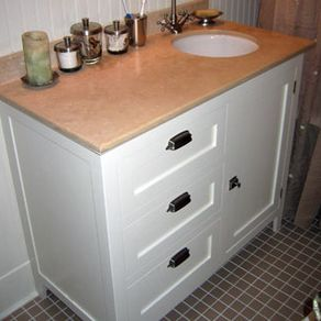 Custom bathroom cabinetry for Z gallerie bathroom vanity