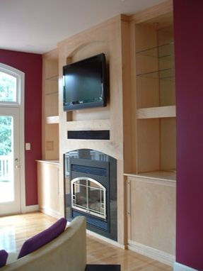 Custom Made Birdseye Maple Built-In Entertainment Center