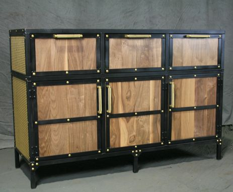 Custom Made Industrial Sideboard With Brass Accents. Mobile Buffet With Brass Rivets. Custom Media Console.