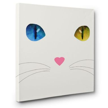 Custom Made White Cat Heterochromia Canvas Wall Art