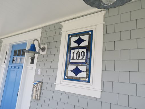 "Custom Made Stained Glass Address Marker - ""Blue Diamonds"" (Am-157)"