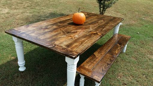 Custom Made Bishop Style Farmhouse Table And Bench