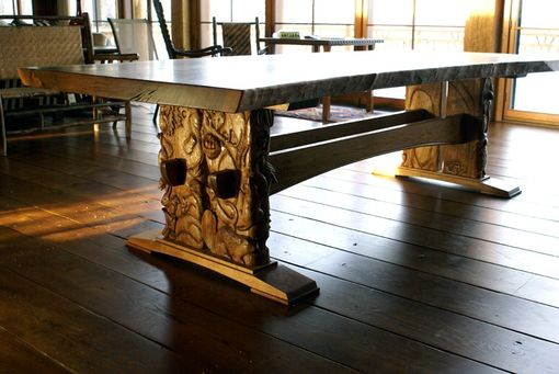 Custom Made Carved Trestle Table
