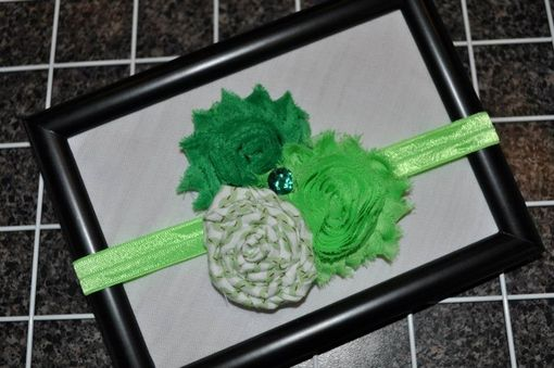 Custom Made Vintage Baby Shabby Rosette Headbands On Super Soft Elastic Or Lace Elastic, Nb - 12 Months.