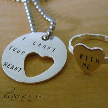 Custom Made I Carry Your Heart. Disc Keychain And Heart Cut Out Ring