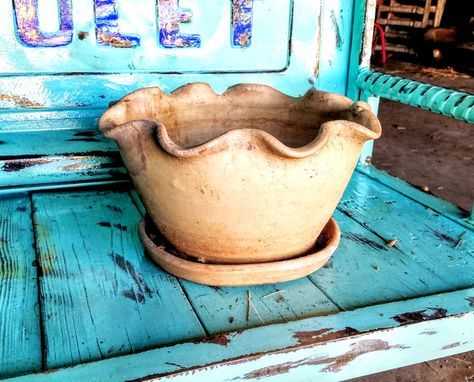 Custom Made Vintage Byrd Texas Pottery Flower Pot  1930s