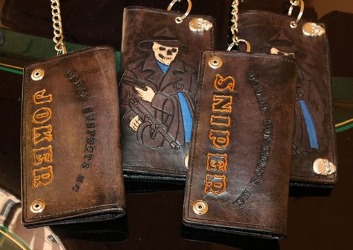 Custom Made Insane Mc Club Colors Logo Custom Biker Chain Wallet