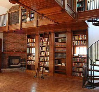 Custom Made Library With Rolling Ladder