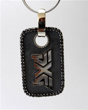 Custom Made Logo Dog Tag Pendant With Black Diamond.