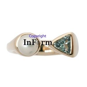 Custom Made Rose Gold Ring With Aquamarine And Pearl