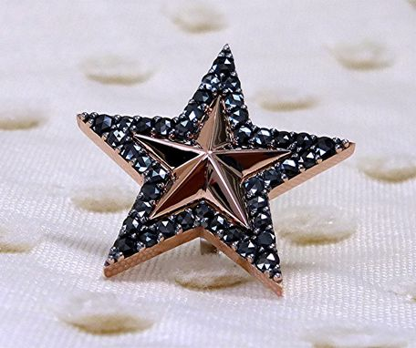 Custom Made Star 14k Rose Gold Earring With Black Diamonds