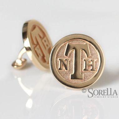 Custom Made Personalized Monogram Cuff Links In 14k Gold